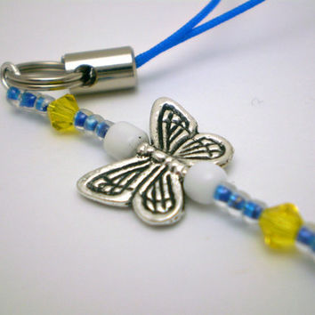 Butterfly Cell Charm or Zipper Pull in Blue/Yellow by justByou