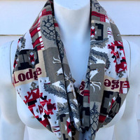 Christmas Handmade Scarf-Camping Moose Flannel Infinity Scarf-Patch Chunky Winter Scarf-Women's Aztec Hunting Scarf-Gifts For Her