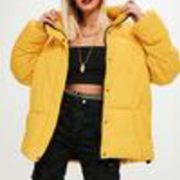 Missguided - Yellow Ultimate Oversized Padded Jacket