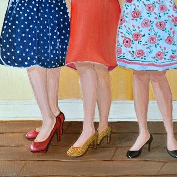 Original Oil Painting, Oil Painting, Red Skirt, Red Shoes, Oil Painting, 9x12, Canvas Wall Decor,Wall Art, Shoe Painting, Fashion,High Heels