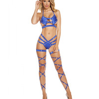 Triple Strapped Bikini -Rhinestones-Stripper Clothing