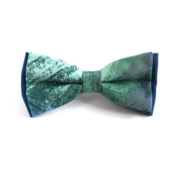 Green Pattern Bow Tie with Green and Blue Pattern, Man Bow Tie