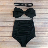 Bow Bandeau Bikini - Vintage Style High Waisted Pin-up Swimwear -  With Extra High Waist Ruched Panel Bottoms