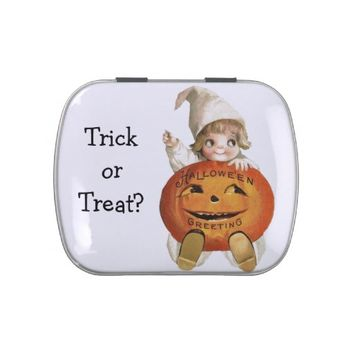 Trick or Treat Halloween Vintage Girl & Pumpkin Jelly Belly Candy Tins