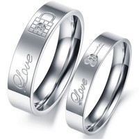 MagicPieces Fashion Jewelry Key And Lock AAA High Quality CZ Titanium Stainless Steel Couple Ring DP 0613