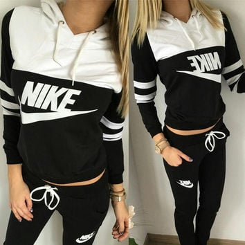 Fashion Hooded Patchwork Alphabet Print Stylish Sports  Two-Piece Sportswear Set
