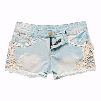 Ripped Lace Denim Shorts = 1929843332