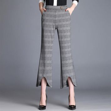 plaid elegant Women trousers casual straight loose retro dance pants rave miyakefashion capris for Women 60k023