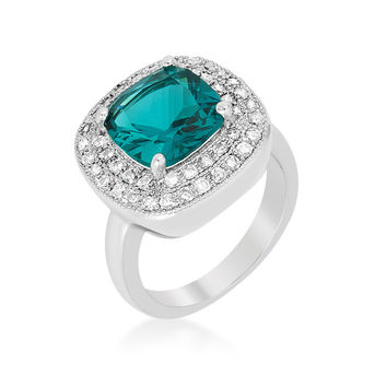 Blair Aqua Blue Cushion Cut Cocktail Ring | 5ct | Cubic Zirconia | Silver