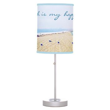 """Happy place"" aqua beach tan sand photo table lamp"