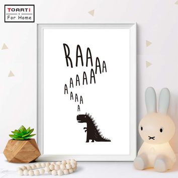 Dinosaur Black White Nordic Poster Wall Art Print Canvas Painting Posters And Prints Wall Pictures Kids Room Decor