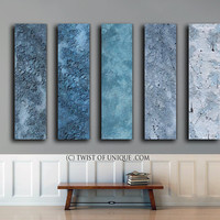 Blue metal Abstract Painting / CUSTOM 5 painting set /56x13 / Metallic abstract painting / Steel, silver, blue, silver, gunmetal gray
