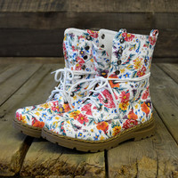Pretty Dangerous Ivory Floral Military Combat Boots