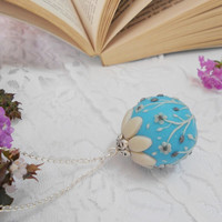 Turquoise and Pearl Floral Ball Necklace - Handmade of Polymer Clay - A Romantic Gift for Her -