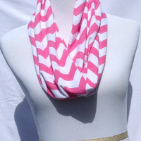 Pink and white chevron Infinity scarf, Pink and white Chevrons Zig Zag, jersey knit scarf, infinity scarf, bridesmaid gift