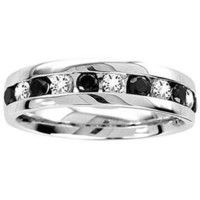 1/2 Carat Black & White Diamond 14k White Gold Men's Wedding Ring