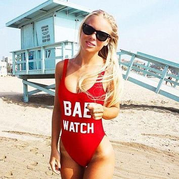 1 PC Letter Print One Piece Swimsuit BAE WATCH/Worst Behavior Swimwear For Women traje de bano mujer Backless Bodysuit Monokini