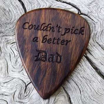Handmade Premium Laser Engraved Wood Guitar Pick - Caribbean Rosewood - Actual Pick Shown - Engraved One Side