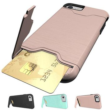 1-Credit Card Holder Case iPhone X 8 Plus+7 6S 6 With Slide Card Slot Back Cover