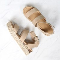 Double Band Ankle Strap Trendy Flatform Espadrille Sandals