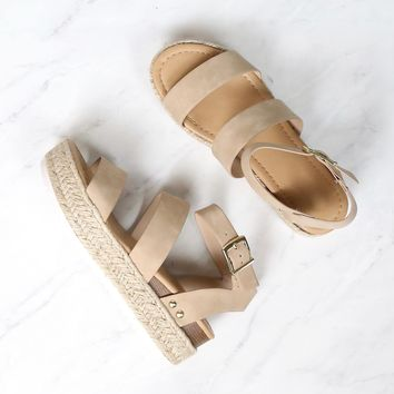 Double Band Ankle Strap Trendy Flatform Espadrille Sandals in Taupe