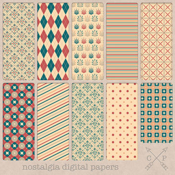 SALE hand drawn flower pattern soft digital paper pack for printing scrapbooking web and blog backgrounds argyle leafs geometric diagonals