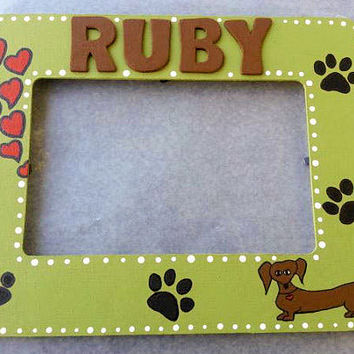 Personalized Hand Painted Green Pet Wooden Picture Frame Dachshund Dog Paws and Hearts Animals