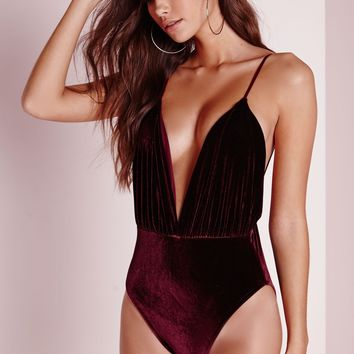 Missguided - Velvet Plunge Bodysuit Burgundy