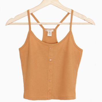 Button-Accent Crop Tank Top