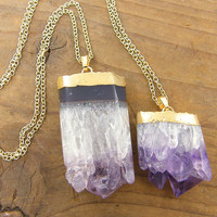 Raw Amethyst Geode Slice Necklace, Set of two Purple Lavender Layered Semiprecious Gemstone Jewelry