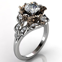 14k two tone white and rose gold diamond unusual unique floral engagement ring, bridal ring, wedding ring ER-1058-5
