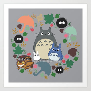 Totoro Kawaii My Neighbor Square 8x8 Pop Art Print Anime Manga Soot Catbus Grey Blue White Troll Hayao Miyazaki Studio Ghibli Home Decor