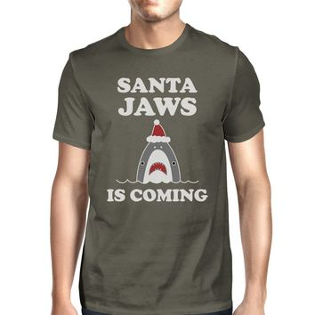 Santa Jaws Is Coming Mens Dark Grey Shirt
