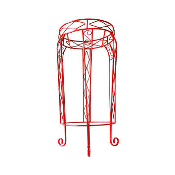 Plant Stand Red Metal Plum Small Patio Table Simple Mod Potted Plant Holder Vintage Wire Planter Succulent Flower Pot Garden Art Decor