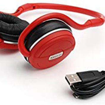 Kinivo BTH240 Bluetooth Stereo Headphone Supports Wireless Music Streaming and Hands-Free calling - Red