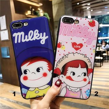 Lovely couple Glass texture mobile phone case for iPhone X 7 7plus 8 8plus iPhone6 6s plus -171212