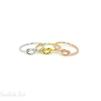 Solid Sterling Silver Love Knot Promise Ring in All Silver, Rose Gold or Yellow Gold Plated