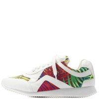 White Combo Tropical Print Lace-Up Sneakers by Charlotte Russe