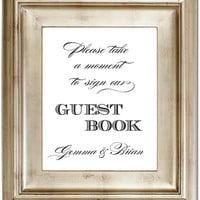 8x10 Guest Book Sign Our Guestbook Customized Personalized Typography Wedding Sign Black Friday AND Cyber Monday Sale