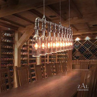 Wine // Beer Bottles Suspension Lamp. Pendant Light.