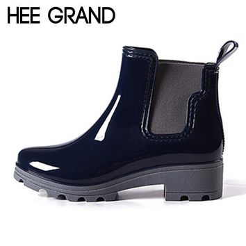 HEE GRAND Platform Rain Boots Ladies Rubber Ankle RainBoots Low Heels Women Slip On Pu