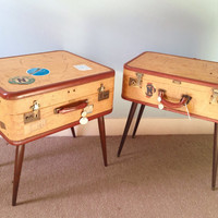 Pair of upcycled repurposed luggage side tables