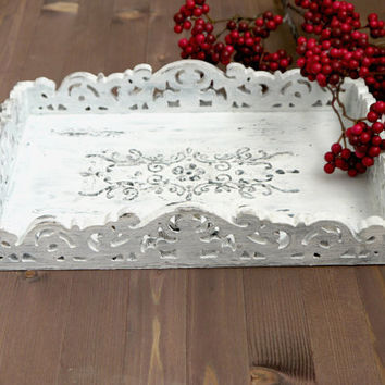Shabby chic antique painted serving tray - French Provincial serving tray - Country French Shabby Chic serving tray