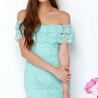 Islands in the Stream Mint Lace Off-the-Shoulder Dress