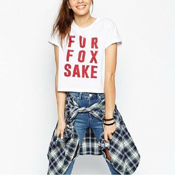 DCCKIX3 High Street New Brief Style Fur Fox Sake Letter Printed Short Sleeve Punk White Cropped T-Shirt = 1931491268