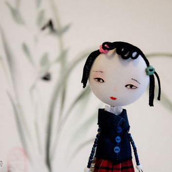 Art Doll Brooch Japanese School girl mixed media by miopupazzo