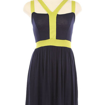 Twist of Lime Colorblock Dress - Navy/Lime