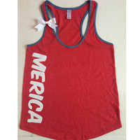 Merica - Ringer Tank - Ruffles with Love - Racerback Tank - Womens Fitness - Workout Clothing - Workout Shirts with Sayings