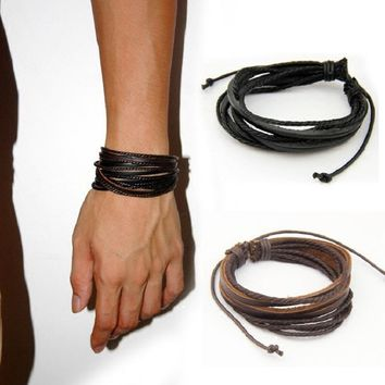 Male Leather Bracelets Bangles For Men Black Brown Braided Rope Fashion Wrist Band Bracelet Men Jewelry Lace-up  SWXS242