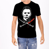 Michael Myers Cross Knives Men's Tee